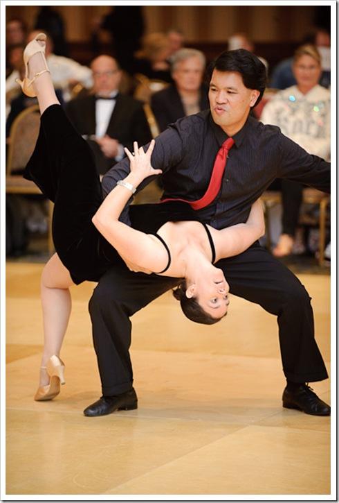 Dip during a dance at the Arthur Murray Showcase in Tysons Corner, VA