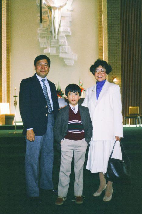 Family photo at church