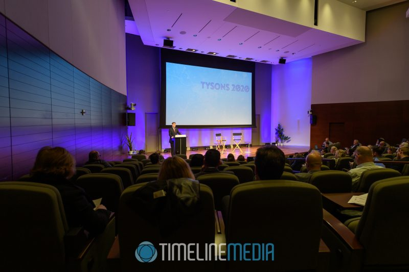 Auditorium at Capital One HQ for a Tysons Partnership event for the release of their 2020 Annual Report ©TimeLine Media