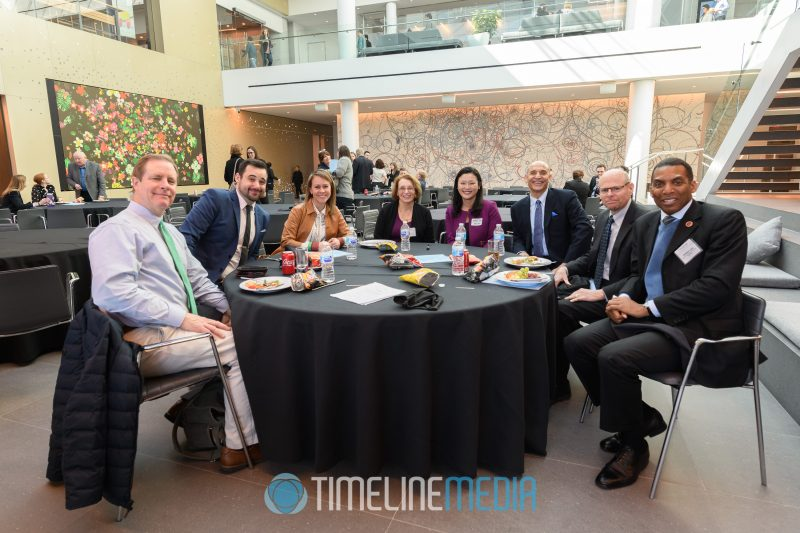 Networking at the atrium in the Capital One HQ for a Tysons Partnership event ©TimeLine Media