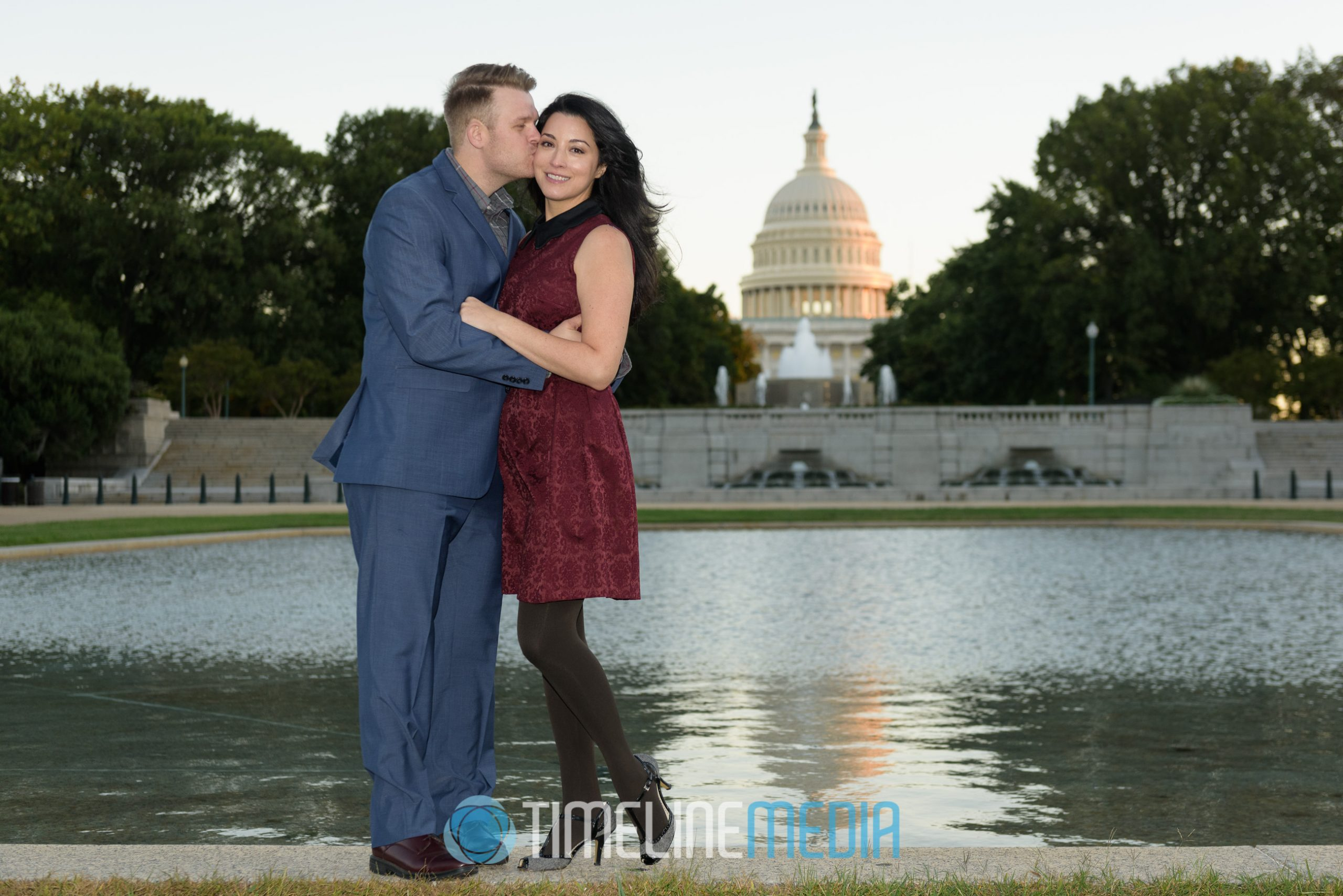 Engaged couple in front of the Capitol Building in Washington, DC ©TimeLine Media