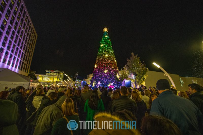 Christmas Tree fully lit on the Plaza in Tysons Corner Center