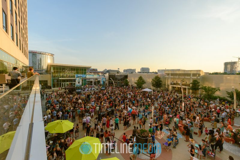 The Plaza with a crowd during the 2018 Summer Concert Series