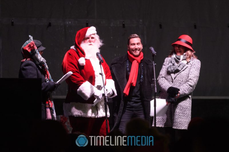 Santa and Lance Bass with 97.1 WASH-FM at the Christmas Tree Lighting event on the Plaza