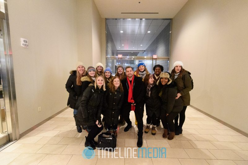 Performers get a group photo with Lance Bass at Tysons Corner Center