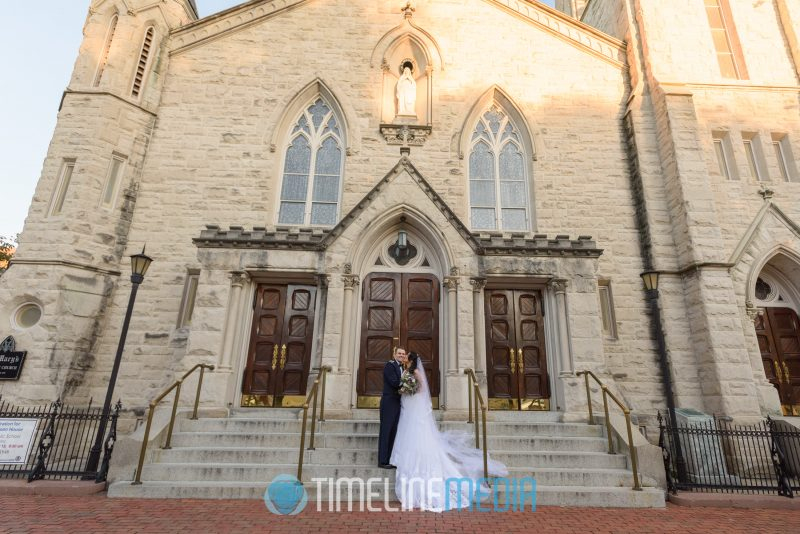 Basilica of Sant Mary and wedding couple in Alexandria, VA ©TimeLine Media