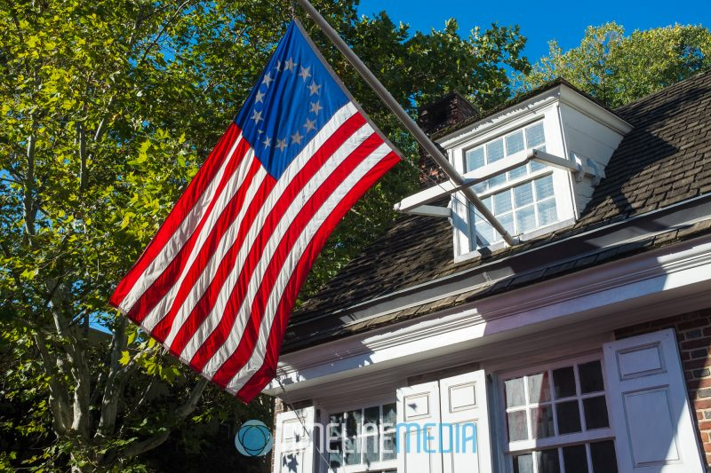 Flag in front of Betsy Ross' house in Philadelphia, PA Fuji X100S ©TimeLine Media