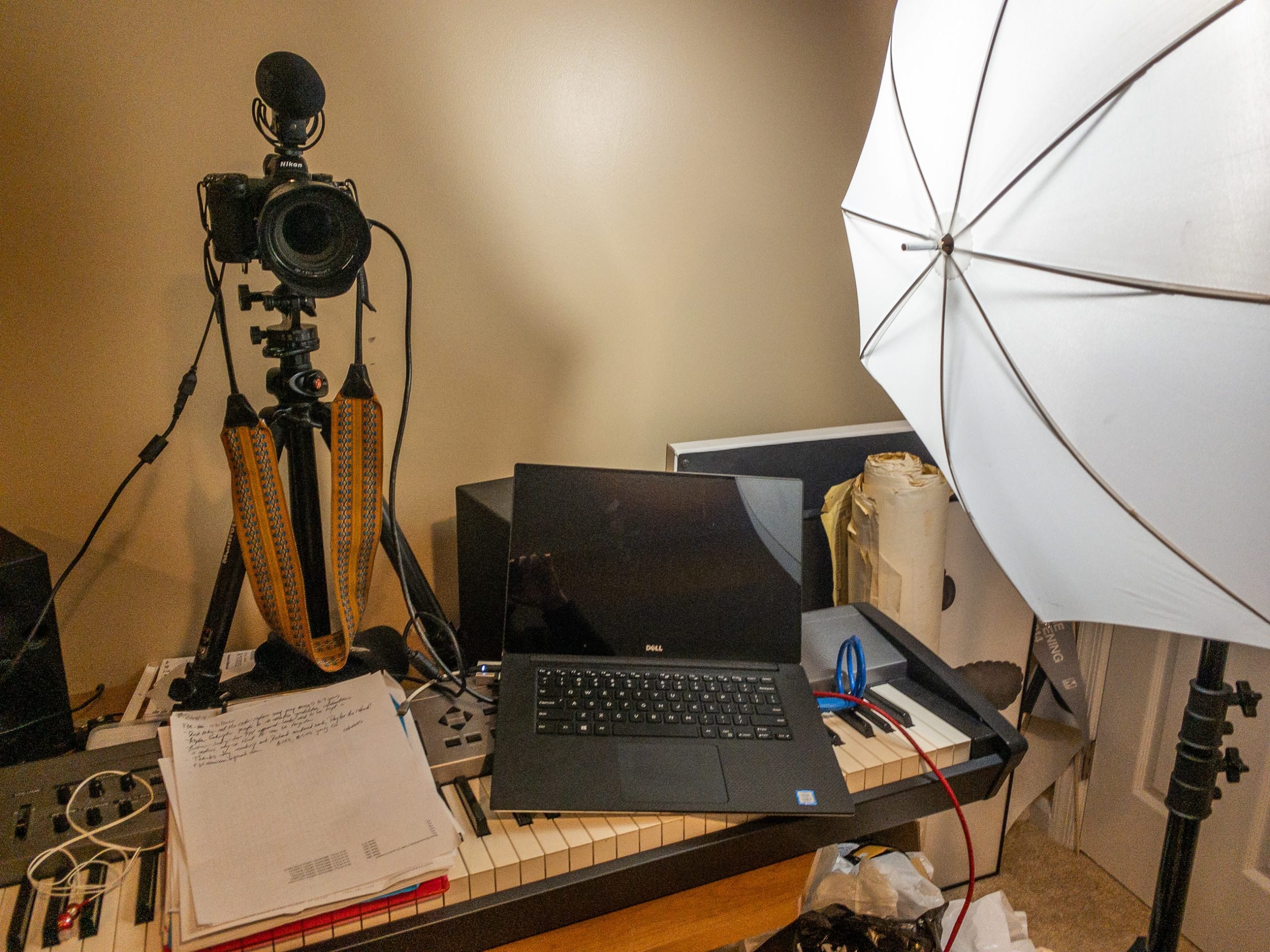 Quarantine 2 - Video - overview of lighting setup with laptop, camera, and lighting ©TimeLine Media
