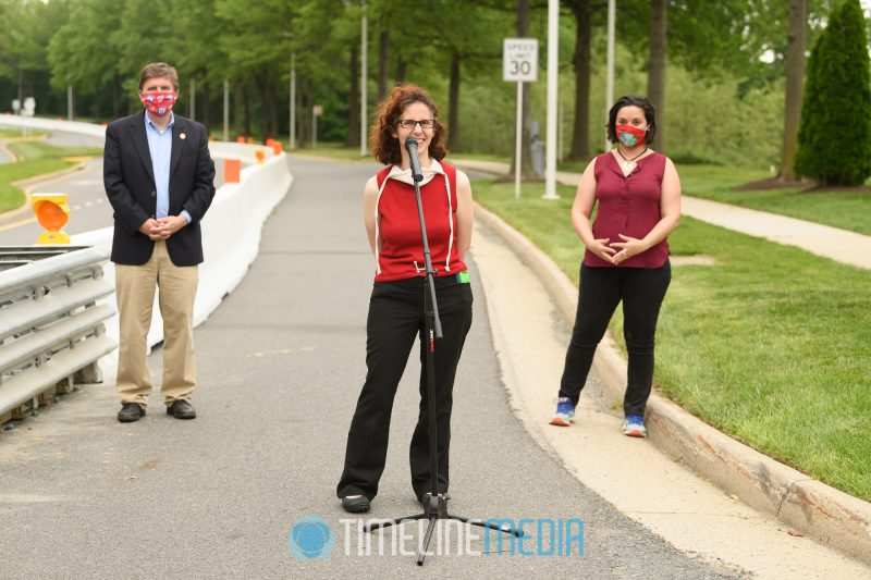 Ronit Dancis speaking at the ribbon cutting for the Tysons Open Streets project  ©TimeLine Media