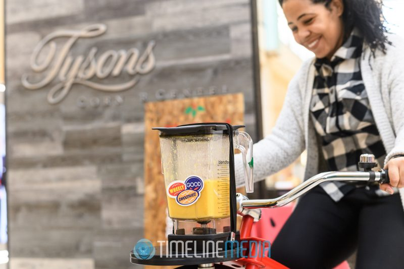 Mixing your own smoothies with a bicycle mixer at Tysons Corner Center