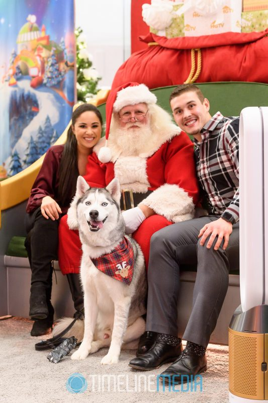 Dogs visiting with Santa at the 2019 Yappy Hour at Tysons Corner Center