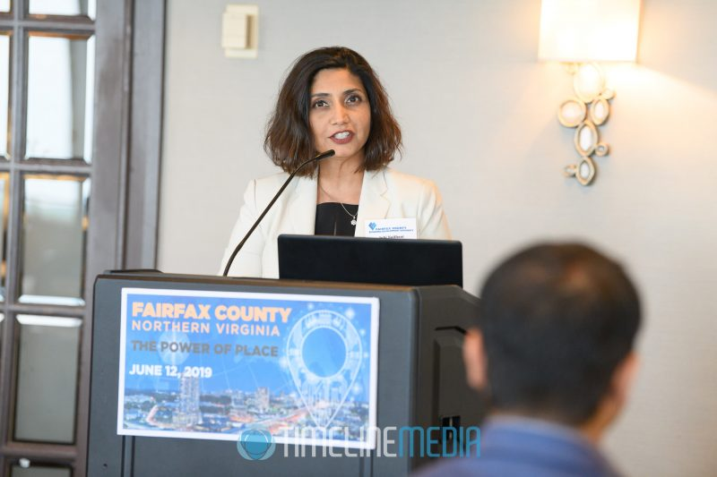 Juhi Naithani, FCEDA speaking at The Power of Place event at Tysons Tower Club ©TimeLine Media