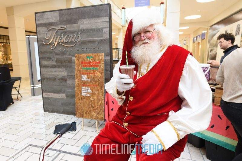 Santa enjoying a smoothie at Tysons Corner Center