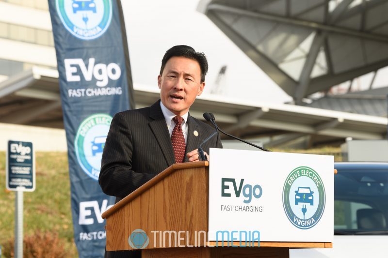 Virginia Delegate Mark Keam at the EVgo car charger opening ceremony in Tysons ©TimeLine Media