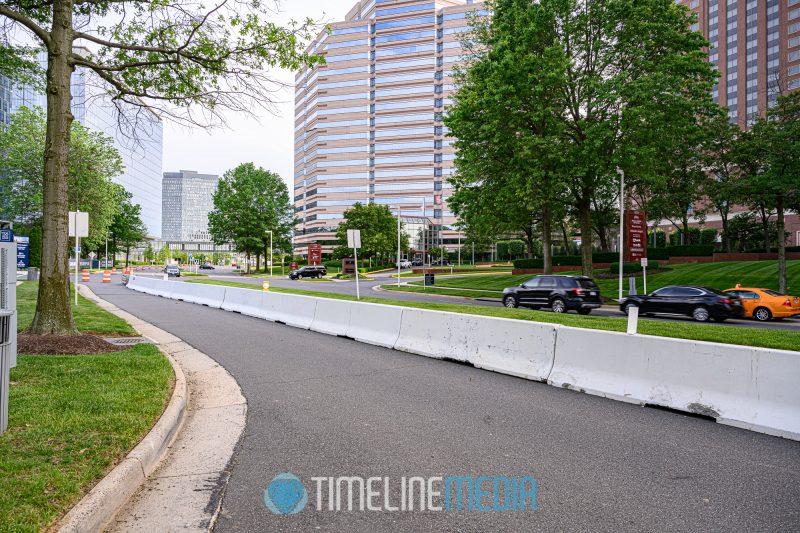 Barrier on northbound Tysons Blvd. closing it to motor traffic ©TimeLine Media