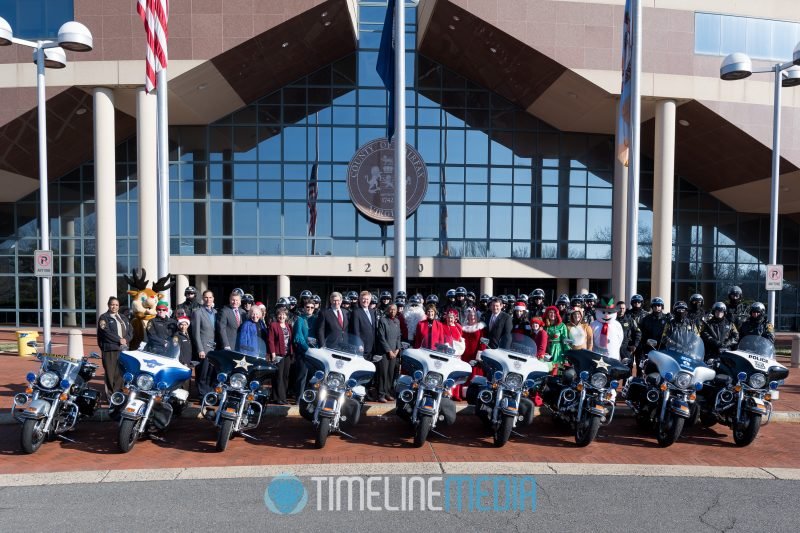 Fairfax County police motorcycles at the Fairfax County Government Center - Santa Ride ©TimeLine Media