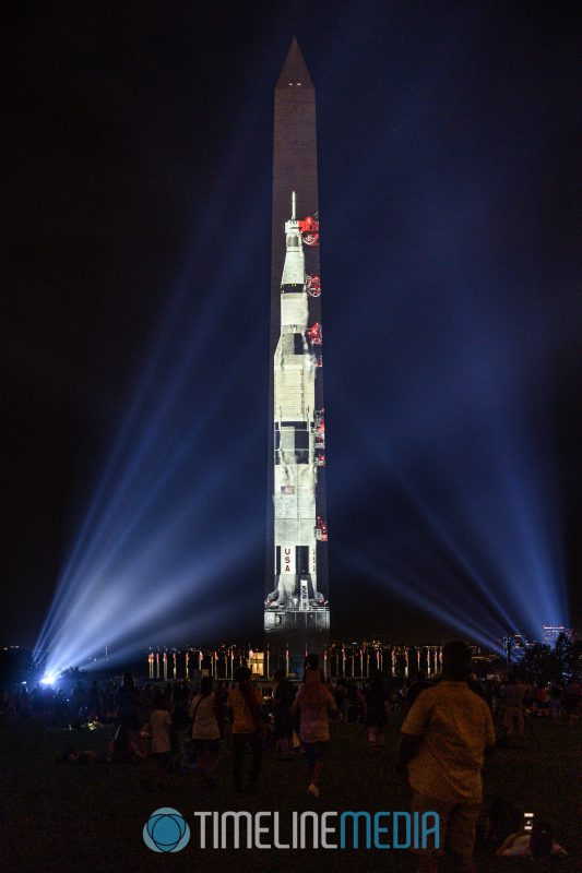 Projection of the Saturn V rocket of Apollo 11 on the Washington Monument ©TimeLine Media