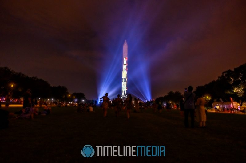 Apollo 50 Festival with the Saturn V rocket projected on the Washington Monument ©TimeLIne Media