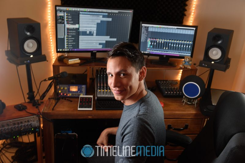 Josh at his main workstation at Mix It Studios ©TimeLine Media Fairfax Location Headshots