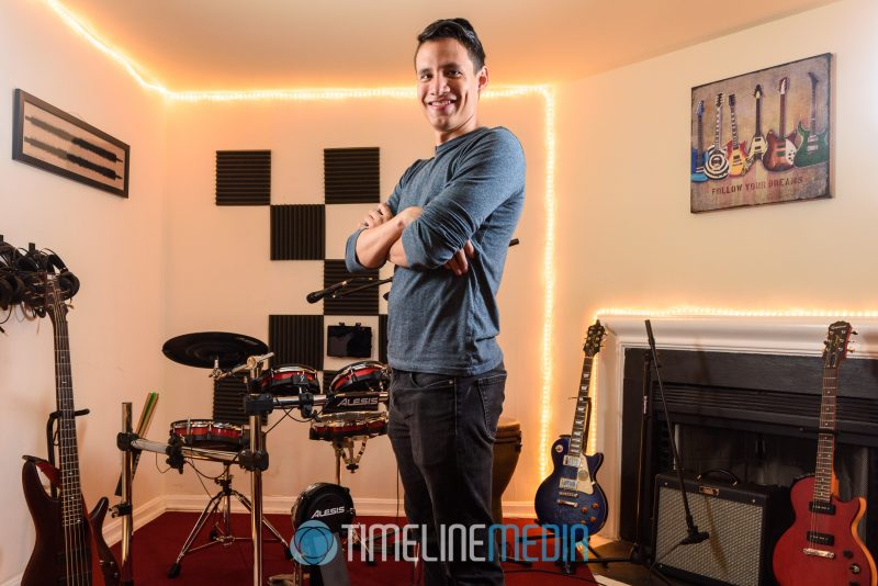 Portrait of Mix It Studios owner Josh in the music recording area ©TimeLine Media Fairfax Location Headshots