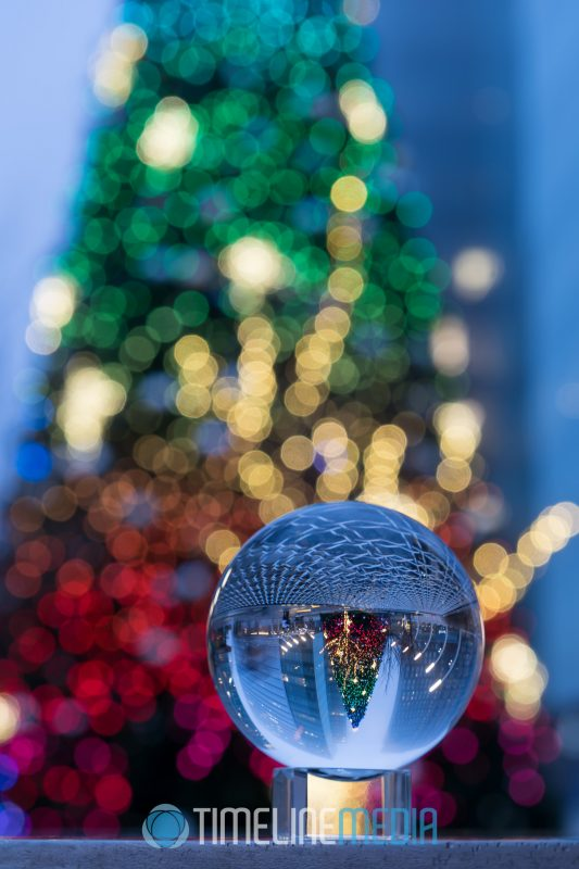 Decorated Christmas tree through a Lensball in Tysons ©TimeLine Media 2018 Holiday