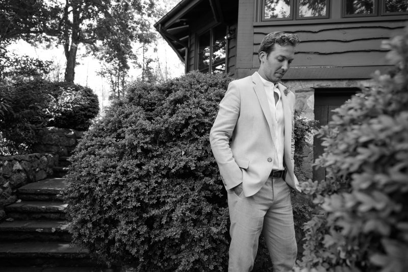 Ashwood waits for his bride prior to their wedding ceremony in Paris, Virginia ©TimeLine Media