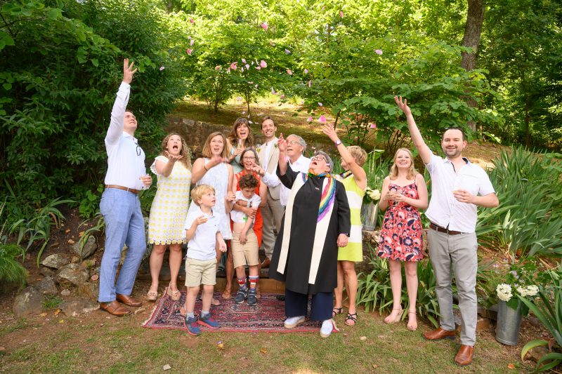 The family celebrates the summer wedding of Julie and Ashwood in Paris, Virginia ©TimeLine Media