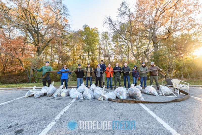 Colonial Pipeline team with trash they removed from the Anacostia River ©TimeLine Media